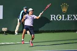 March 7, 2019 - Indian Wells, CA, U.S. - INDIAN WELLS, CA - MARCH 07: Yoshihito Nishioka (JPN) hits a forehand during the BNP Paribas Open on March 7, 2019 at Indian Wells Tennis Garden in Indian Wells, CA. (Photo by George Walker/Icon Sportswire) (Credit Image: © George Walker/Icon SMI via ZUMA Press)