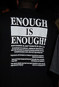 Thousands gather outside the LaSalle Parish court house and show their support for the Jena 6 by wearing Enough is Enough T-shirts at the ralley in Jena Louisiana Thursday Sept. 2007.(Photo/© Suzi Altman)
