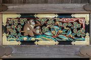 """""""The mother looks to the future while the new child looks at her with trust."""" Hidari Jingoro may have carved these panels to incorporate Confucius's Code of Conduct, using the monkey as a way to depict man's life cycle. Art work on storehouse in Toshogu shrine in Nikko, Japan. The monkeys are Japanese macaques, a common species in Japan. Toshogu Shrine is the final resting place of Tokugawa Ieyasu, the founder of the Tokugawa Shogunate that ruled Japan for over 250 years until 1868. Ieyasu is enshrined at Toshogu as the deity Tosho Daigongen, """"Great Deity of the East Shining Light"""". Initially a relatively simple mausoleum, Toshogu was enlarged into the spectacular complex seen today by Ieyasu's grandson Iemitsu during the first half of the 1600s. The lavishly decorated shrine complex consists of more than a dozen buildings set in a beautiful forest. Toshogu contains both Shinto and Buddhist elements, as was common until the Meiji Period when Shinto was deliberately separated from Buddhism. Toshogu is part of Shrines and Temples of Nikko UNESCO World Heritage site."""