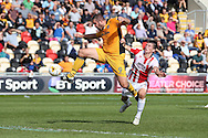 Goal  -  Jon Parkin of Newport county (c) shoots and scores his teams 2ND goal to equalise at 2-2. EFL Skybet football league two match, Newport county v Cheltenham Town at Rodney Parade in Newport, South Wales on Saturday 10th September 2016.<br /> pic by Andrew Orchard, Andrew Orchard sports photography.