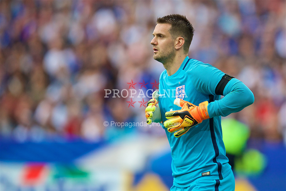 PARIS, FRANCE - Tuesday, June 13, 2017: England's goalkeeper Tom Heaton in action against France during an international friendly match at the Stade de France. (Pic by David Rawcliffe/Propaganda)
