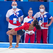 TOKYO, JAPAN - JULY 27: Jordan Chiles of the United States fails to land cleanly while performing her floor routine watched by the ROC team during the Team final for Women at Ariake Gymnastics Centre during the Tokyo 2020 Summer Olympic Games on July 27, 2021 in Tokyo, Japan. (Photo by Tim Clayton/Corbis via Getty Images)