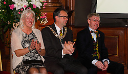 Pictured: Lord Provost Donal Wilson with his wife and Ken Buchannan<br /> Edinburgh Award for 2016 presented to Ken Buchanan at the city chambers. A ceremony at the City Chambers for the recipient of this year's award, Ken Buchanan, who was presented with a Loving Cup by the Lord Provost. He was also reunited with his hand-prints which have been set in a flagstone within the grounds of the City Chambers and see his name etched on the city's Edinburgh Award honour board <br /> <br /> Scott Louden | EEm 3 March 2017