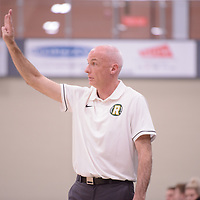Head Coach Steve Burrows (5th Season) of the Regina Cougars during the Men's Basketball home game on November 25 at Centre for Kinesiology, Health and Sport. Credit: Arthur Ward/Arthur Images