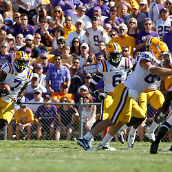 Oct 2, 2010; Baton Rouge, LA, USA; LSU Tigers cornerback Patrick Peterson (7) returns a punt against the Tennessee Volunteers during the first half at Tiger Stadium.  Mandatory Credit: Derick E. Hingle