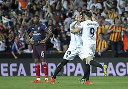 May 9, 2019 - Valencia, Valencia, Spain - Gameiro and Rodrigo of Valencia celebrating a goal during UEFA Europa League football match, between Valencia and Arsenal, May 09th, in Mestalla stadium in Valencia, Spain. (Credit Image: © AFP7 via ZUMA Wire)