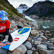 Chris Theobald packing up his Red Paddle Co inflatable paddle board in Bernardo O'Higgins National Park in Chile.