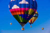 Hot air balloons flying during the Albuquerque International Balloon Fiesta, Albuquerque, New Mexico USA.