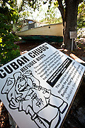 A Cuban chug, a refugee boat used by Cuban's fleeing the Castro regime on display at the Key West Botanical Garden at Stock Island, Key West, Florida.