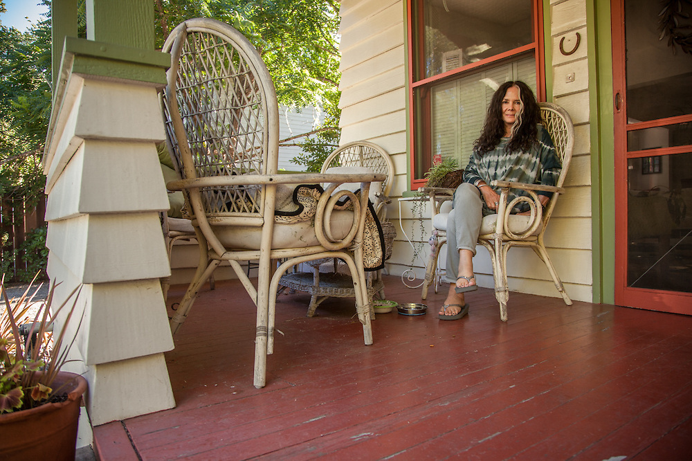 """""""I have lived in this house for nine years...it is a work in progress.""""  -Retired corporate comptroller, Susan Baxter at her home on 2nd Street in Calistoga"""