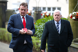 Nicholas Randall (left) and Peter Ridsdale arriving at the funeral service for Gordon Banks at Stoke Minster.