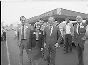 15/05/1982<br /> 05/15/1982<br /> 15 May 1982<br /> An Taoiseach, Mr Charles Haughey, canvasing with Fianna Fail bye-election candidate Eileen Lemass in Dublin West. An Taoiseach and Eileen Lemass meet the people outside a Quinnsworth store. Brian Lenin Snr. on left.
