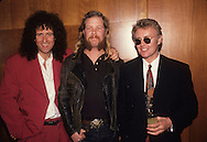 LOS ANGELES, CA - JUNE 2: Brian May, James Hetfield and Roger Taylor at photo session on June 2, 1991 in Los Angeles, California.