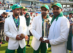 June 18, 2017 - London, United Kingdom - L-R Safaraz Ahmed, Babar Azam and Haris Sohail of Pakistan with Trophy.during the ICC Champions Trophy Final match between India and Pakistan at The Oval in London on June 18, 2017  (Credit Image: © Kieran Galvin/NurPhoto via ZUMA Press)