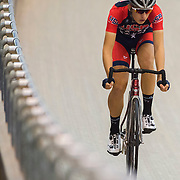 Cyclist Gavin Hoover trains at the Velo Sports Center on November 5, 2015 in Carson, California.