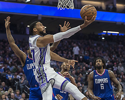 November 25, 2017 - Sacramento, CA, USA - The Sacramento Kings' Garrett Temple (17) goes to the basket against the Los Angeles Clippers in the first half on Saturday, Nov. 25, 2017, at Golden 1 Center in Sacramento, Calif. (Credit Image: © Hector Amezcua/TNS via ZUMA Wire)