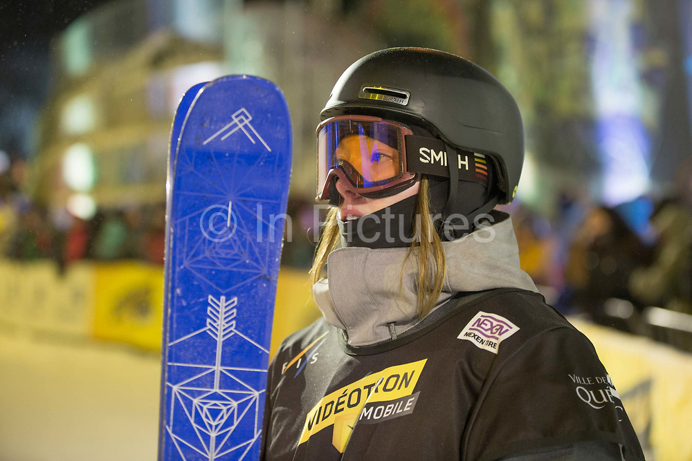 British freestyle skier Isabel Atkin during the FIS Jamboree Ski Big Air final on 12th February 2017 in downtown Quebec, Canada. The Canadian Jamboree is part of the ski and snowboard FIS World Cup circuit held in Quebec City and Stoneham Mountain.