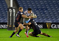 Rugby Union - 2020 / 2021 Guinness Pro-14 - Edinburgh vs Glasgow Warriors - Murrayfield<br /> <br /> Sam Johnson of Glasgow Warriors is tackled by Stuart McInally of Edinburgh Rugby<br /> <br /> COLORSPORT/BRUCE WHITE