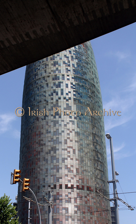 The Torre Agbar 2013. 38 story skyscraper that marks the gateway to the new technological district of Barcelona