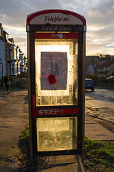 BT payphone with a notice for its removal, Greystones Road, Sheffield