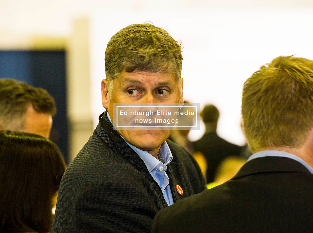 Pictured:  Colin Fox from the Scottish Socialist Party watches the count <br /> <br /> The count has started for the Edinburgh Count as part of the Scottish Election 2016. A long night is anticipated with results predicted to start being announced around 7 AM<br /> <br /> <br /> <br /> Ger Harley | EEm 5 May 2016
