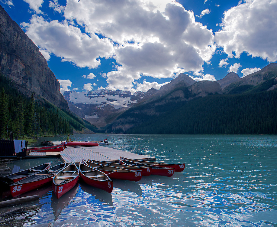 Canoes on Lake Louise, Banff National Park