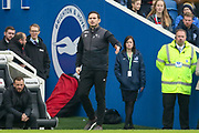 Derby County Manager Frank Lampard  gestures during the The FA Cup 5th round match between Brighton and Hove Albion and Derby County at the American Express Community Stadium, Brighton and Hove, England on 16 February 2019.