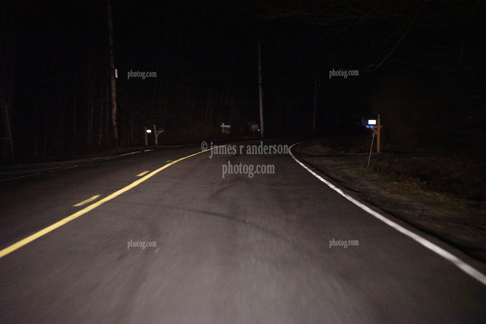 Driving to Potts Point along Harpswell Neck Road, Harpswell, Maine. Friday Night 25 April 2015