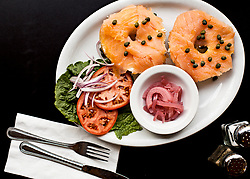 Two Bagels with Lox and Cream Cheese on a Plate