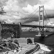 Golden Gate Bridge - Fort Point Overlook - Black & White