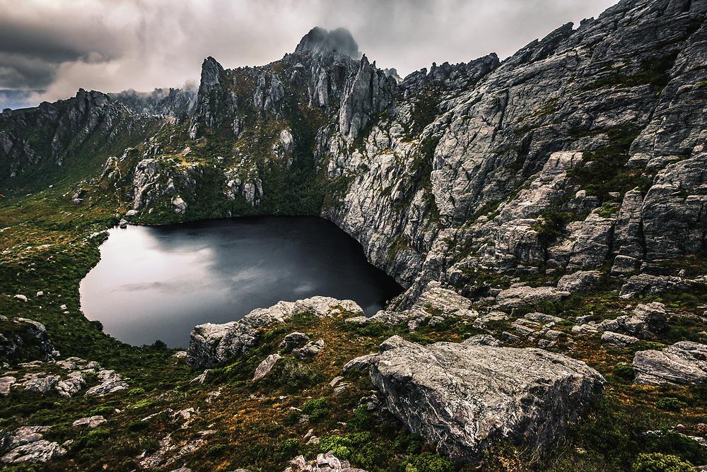 Square Lake in Western Arthurs Range, Southwest Tasmania