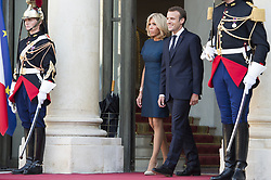 French President Emmanuel Macron and his wife Brigitte Macron await French players at the Elysee Presidential Palace on July 16, 2018 in Paris, France, after French players won the Russia 2018 World Cup final football match. France celebrated their second World Cup win 20 years after their maiden triumph on July 15, 2018, overcoming a passionate Croatia side 4-2 in one of the most gripping finals in recent history. Photo by Eliot Blondet/ABACAPRESS.COM