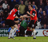 Fotball<br /> England 2004/22005<br /> Foto: SBI/Digitalsport<br /> NORWAY ONLY<br /> <br /> Portsmouth v Blackburn Rovers<br /> 15/1/2005<br /> Barclays Premiership<br /> <br /> Blackburn's Nils-Eric Johansson and David Thompson celebrate the only goal of the game.