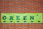 Banner at Elementary School energy efficeincy and sustainabilty tips for school children, Culver City, California, USA