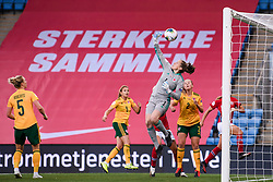 OSLO, NORWAY - Tuesday, September 22, 2020: Wales' goalkeeper Laura O'Sullivan is beaten for the only goal of the game during the UEFA Women's Euro 2022 England Qualifying Round Group C match between Norway Women and Wales Women at the Ullevaal Stadion. Norway won 1-0. (Pic by Vegard Wivestad Grøtt/Propaganda)