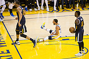 Golden State Warriors guard Stephen Curry (30) celebrates a basket against the Utah Jazz during Game 2 of the Western Conference Semifinals at Oracle Arena in Oakland, Calif., on May 4, 2017. (Stan Olszewski/Special to S.F. Examiner)