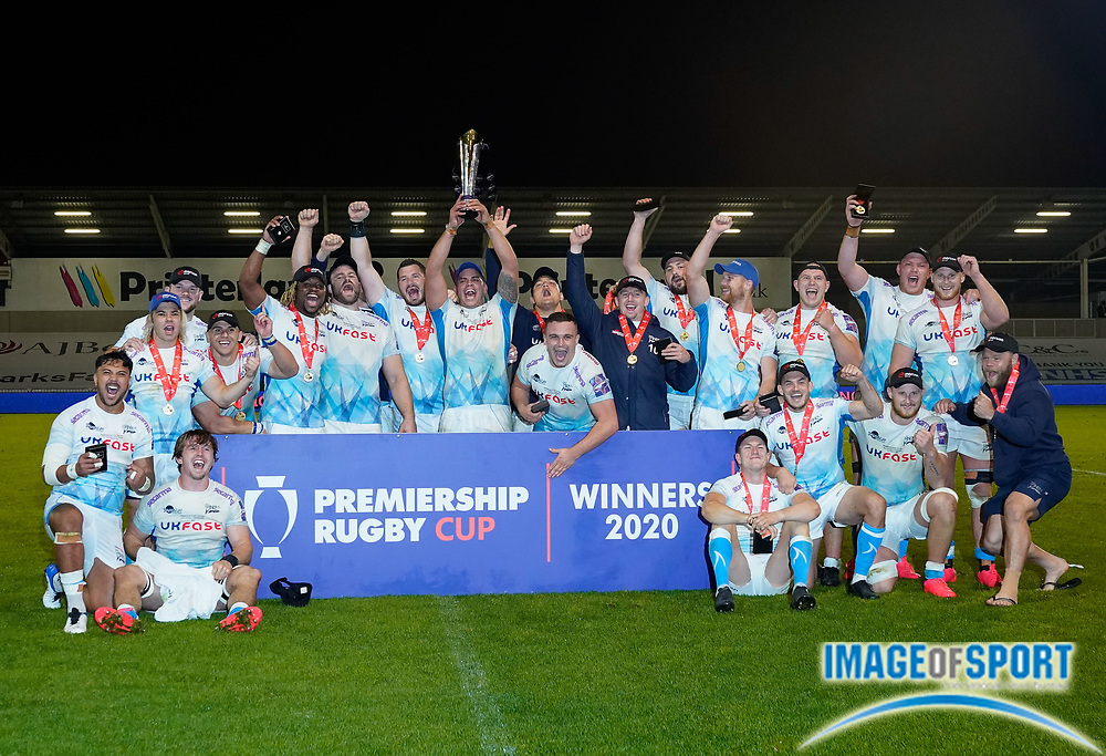 Sale Sharks players lift the trophy after winning 27-19 The Premiership Rugby Cup Final at The AJ Bell Stadium, Eccles, Greater Manchester, United Kingdom, Monday, September 21, 2020. (Steve Flynn/Image of Sport)