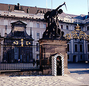 Statue and guard at the entrance to Prague castle, Czech republic