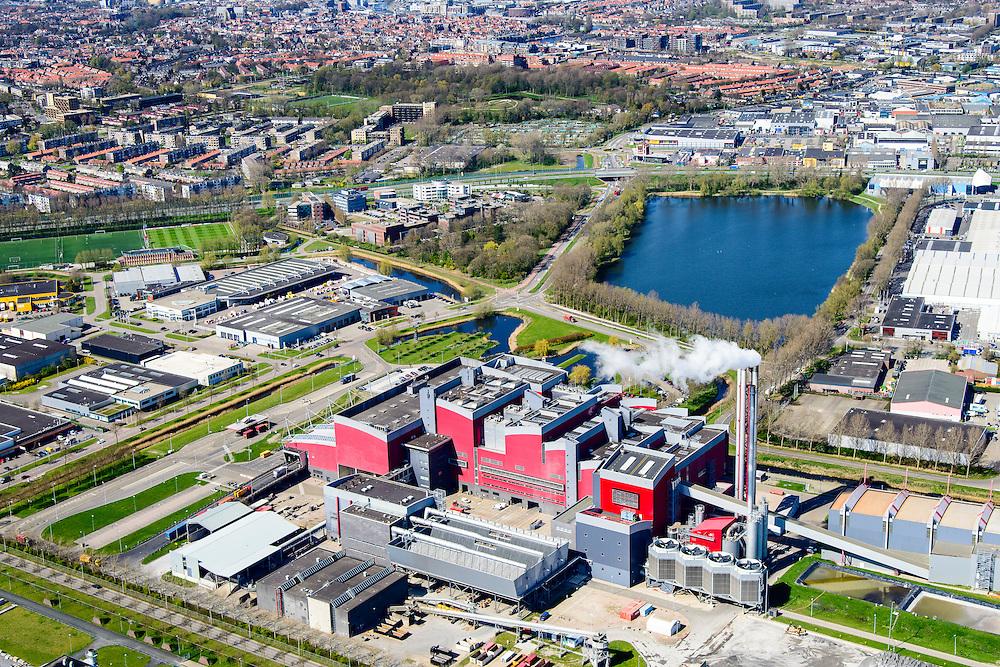 Nederland, Noord-Holland, gemeente Alkmaar, 20-04-2015; Huisvuilcentrale Noord-Holland - HVC, verzorgt vuilverbranding van huishoudelijk en bedrijfsafval. De centrale fungeert ook als een op houtgestookte bio-energiecentrale voor opwekking groene stroom.<br /> Incineration plant, dubbles as a wood-fired bio-power plant for generating green electricity.<br /> luchtfoto (toeslag op standard tarieven);<br /> aerial photo (additional fee required);<br /> copyright foto/photo Siebe Swart