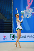 Halford Laura during qualifying at ball in Pesaro World Cup 10 April 2015.    Laura is a British rhythmic gymnast was born  February 25,1996 in Cricklade, England. She is a four-time senior British champion.