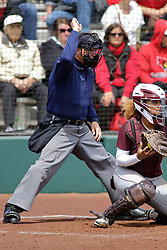 22 April 2017:  Strike calls home plate umpire Sergio Villarreal during a Missouri Valley Conference (MVC) women's softball game between the Missouri State Bears and the Illinois State Redbirds on Marian Kneer Field in Normal IL