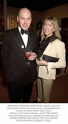 MR & MRS PEREGRINE ARMSTRONG-JONES, he is the half-brother of the Earl of Snowdon,  at a reception in London on 22nd March 2001.OML 7