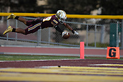 Simi Valley's Ranell White dives for a touchdown but is ruled out of bounds during a game against Taft at Simi Valley High School on Sept. 13 2019.