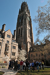 A Tour Group on the Yale University Campus, Harkness Tower and the Branford College Quad in April
