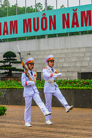 Changing of the guard at the Ho Chi Minh Mausoleum, Hanoi, northern Vietnam. It is the final resting place of Vietnamese Revolutionary leader Ho Chi Minh in Hanoi, Vietnam. It is a large building located in the center of Ba Dinh Square.