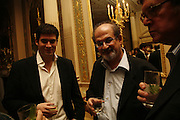 Zafar Rushdie and his father Salman Rushdie, PARTY AFTER THE OPENING OF THE ANISH KAPOOR EXHIBITION AT THE LISSON GALLERY. Duchess Palace, 16 Mansfield St. London. W1. 10 October 2006. -DO NOT ARCHIVE-© Copyright Photograph by Dafydd Jones 66 Stockwell Park Rd. London SW9 0DA Tel 020 7733 0108 www.dafjones.com