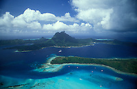 French Polynesia, Islands in the South Pacific, part of the French overseas Territories..aerial view of Bora Bora...Photo by Owen Franken