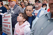 """Apr. 15, 2009 -- PHOENIX, AZ: Some of the crowd during the """"Tea Party"""" at the Arizona State Capitol in Phoenix Wednesday. Nearly 10,000 people attended the rally, which was supposed to be in opposition to the Obama economic plan but turned into a general anti-Obama rally.  Photo by Jack Kurtz"""
