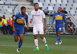 Lyle Lakay and Granwald Scott in the MTN8 semi-final first leg match between Cape Town City and Bidvest Wits at the Cape Town Stadium on Sunday 27 August 2017.