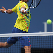 Fabio Fognini, Italy, in action against Andy Roddick, USA, during the US Open Tennis Tournament, Flushing, New York. USA. 2nd September 2012. Photo Tim Clayton
